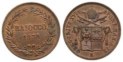 World Coins - Papal States, Rome. Gregorio XVI (1831-1846). Baiocco 1839