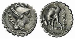 Ancient Coins - ROME REPUBLIC  C. Poblicius Q.f. 80 BC. AR Serrate Denarius