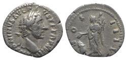 Ancient Coins - Antoninus Pius (138-160). AR Denarius. Rome, AD 155.  R/ Vesta