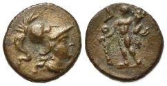 Ancient Coins - ITALY. Southern Apulia, Uxentum, AE 14mm, ca. 150-125 BC.  R/ AO, Herakles, holding club and cornucopia. RARE