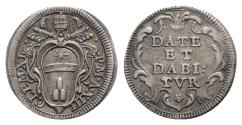 World Coins - ITALY. Papal States, Rome, Clemente XI (1700-1721). AR Grosso. Papal arms. R/ Legend in four lines