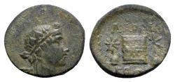 Ancient Coins - Phrygia, Laodikeia, c. 1st century BC. Æ - Dionysos / Cista