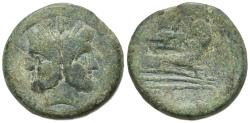 Ancient Coins - ROME REPUBLIC Anonymous, Rome, after 211 BC. Æ As. Head of Janus. R/ Prow