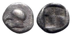 Ancient Coins - Ionia, Uncertain, c. 500 BC. AR Hemiobol - Helmet / Incuse