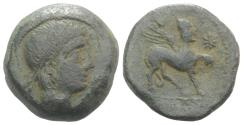 Ancient Coins - Spain, Castulo, late 2nd century BC. Æ As. R/ Helmeted Sphinx
