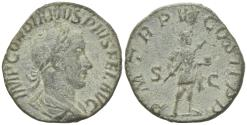 Ancient Coins - Gordian III (238-244). Æ Sestertius. Rome, AD 243.  R/ Gordian standing