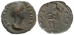 Ancient Coins - Diva Faustina Senior (died AD 140/1). Æ As. Rome. R/ CERES
