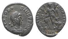 Ancient Coins - Theodosius I (379-395). Æ 13mm. Cyzicus, 388-392.  R/ Victory