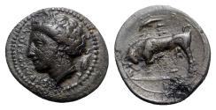 Ancient Coins - Sicily, Syracuse. Agathokles (317-289 BC). Æ - Arethusa / Bull