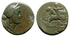 Ancient Coins - Lydia, Nysa, after 133 BC. Æ - Head of Persephone / Rape of Persephone - RARE