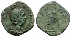 Ancient Coins - Herennia Etruscilla (Augusta, 249-251). Æ Sestertius - Rome - R/ Pudicitia