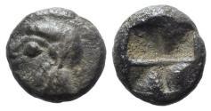 Ancient Coins - Asia Minor, Uncertain, c. 500 BC. AR Obol. Archaic female head
