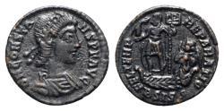 Ancient Coins - Constans (337-350). Æ 18mm. Siscia, 348-350.  R/ Emperor on galley