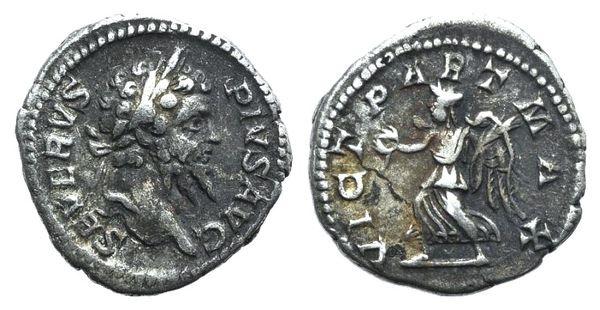 Ancient Coins - Septimius Severus (193-211). AR Denarius. Rome, 201-202.  R/ Victory
