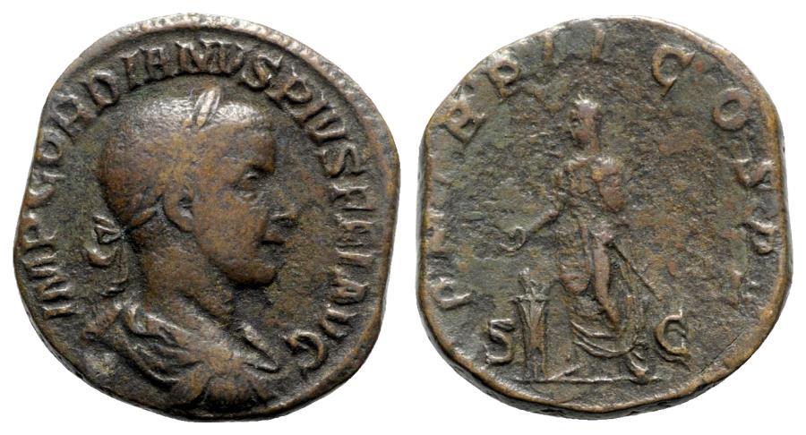 Ancient Coins - Gordian III (238-244). Æ Sestertius - R/ Emperor standing
