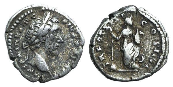 Ancient Coins - Antoninus Pius (138-161). AR Denarius. Rome, 157.  R/ Annona