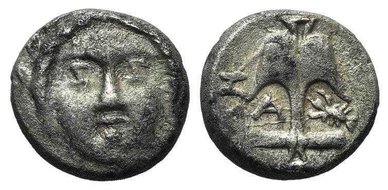 Ancient Coins - Thrace, Apollonia Pontika, late 5th-4th centuries BC. AR Diobol. Laureate head of Apollo facing. R/ Upright anchor