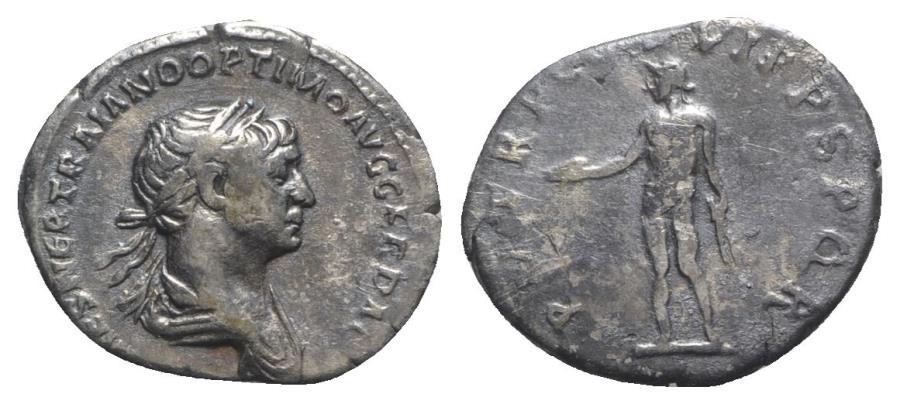 Ancient Coins - Trajan (98-117). AR Denarius - Rome - R/ Genius