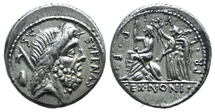 Ancient Coins - Rome Republic. M. Nonius Sufenas, Rome, 57 BC. AR Denarius