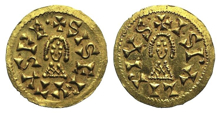 World Coins - Visogoths, Spain. Sisebut (612-621). GOLD Tremissis. Ispalis (Seville). EXTREMELY FINE