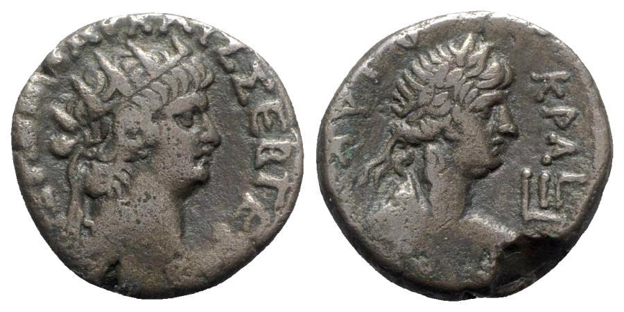 Ancient Coins - Nero (54-68). Egypt, Alexandria. BI Tetradrachm - year 13 - R/ Bust of Apollo