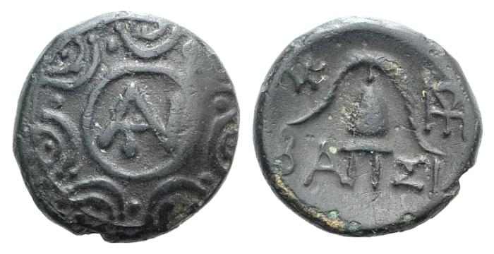 Ancient Coins - Macedon (Macedonia), Kings of. Antigonos II Gonatas (277/6-239 BC). Æ 14mm. Monogram of Antigonos R/ Macedonian helmet