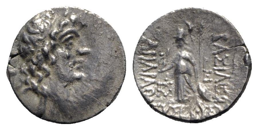 Ancient Coins - Kings of Cappadocia, Ariarathes V (c. 163-130 BC). AR Drachm