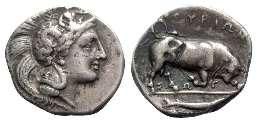 Ancient Coins - Southern Lucania, Thourioi, c. 350-300 BC. AR Nomos