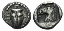 Ancient Coins - Thessaly, Krannon, c. 462/1-460 BC. AR Hemiobol. VERY RARE