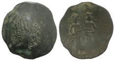 Ancient Coins - Alexius III (1195-1204). BI Aspron Trachy. Constantinople. Bust of Christ  R/ Alexius and St. Constantine standing facing