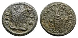 Ancient Coins - Lydia, Sardis. Pseudo-autonomous issue, c. 2nd-3rd century AD. Æ - Tyche / Cult-statue of Artemis
