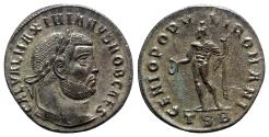 Ancient Coins - Galerius (Caesar, 293-305). Æ Follis - Thessalonica - R/ Genius