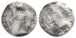 World Coins - Italy, Papal States. Rome, Giulio III (1550-1555). AR Giulio. Arms. R/ S. Peter
