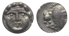 Ancient Coins - Pisidia, Selge, c. 350-300 BC. AR Obol Facing gorgoneion. R/ Head of Athena