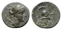 Ancient Coins - Pisidia, Isinda, late 1st century BC. Æ - Artemis / Helmet