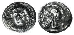 Ancient Coins - Cilicia, Tarsos. Pharnabazos (Persian military commander, 380-374/3 BC). AR Stater. Head of nymph facing R/ Helmeted head of Ares