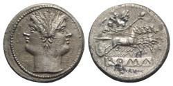 Ancient Coins - Rome Republic Anonymous, Rome, c. 225-212 BC. AR Quadrigatus Head of Janus. R/ Jupiter in quadriga driven by Victory