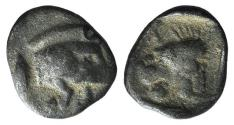 Ancient Coins - Mysia, Kyzikos, c. 450-400 BC. AR Hemiobol. Forepart of boar. R/ Head of roaring lion