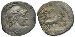 Ancient Coins - ROME REPUBLIC Cn. Lentulus Clodianus, Rome, 88 BC. AR Denarius. Helmeted bust of Mars  R/ Victory driving biga