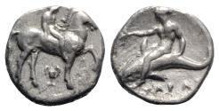 Ancient Coins - ITALY. Southern Apulia, Tarentum, c. 380-340 BC. AR Nomos. Nude youth on horseback  R/ Phalanthos on dolphin
