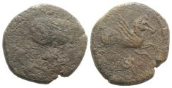 Ancient Coins - Spain, Emporion as Untikesken, c. 100-50 BC. Æ As  R/ PEGASOS