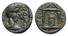 Ancient Coins - Commodus (177-192). Mysia, Pergamum. Æ - R/ Temple with Telesphoros