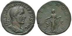 Ancient Coins - Philip I (244-249) AE Sestertius, Rome, AD 244. R/ LAET FVNDATA, Laetitia