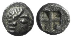 Ancient Coins - Ionia, Kolophon, c. 530-500 BC. AR Tetartemorion. Female head