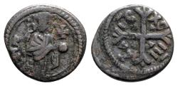 World Coins - Italy, Normans of Sicily, Messina, Ruggero II (1105-1130). Æ Double Follaro. King standing. R/ Cross