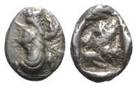 Ancient Coins - Achaemenid Kings of Persia, c. 485-420 BC. AR Siglos. Persian king or hero