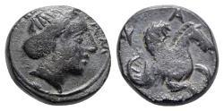 Ancient Coins - Mysia, Lampsakos, c. 4th-3rd century BC. Æ - Female head / Pegasos