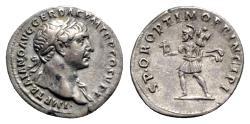 Ancient Coins - Trajan (98-117). AR Denarius - R/ Mars