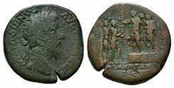 Ancient Coins - Marcus Aurelius (161-180). AE Sestertius. R/ ADLOCUTIO VERY RARE