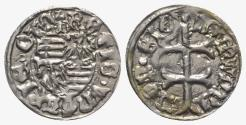 World Coins - Hungary, Sigismund of Luxemburg (1387-1437). AR Denar. Patriarchal cross. R/ Arms